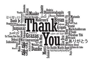 """Thank you"" in various languages."